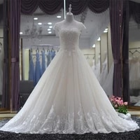 beaded scoop neck tulle ball gown wedding dress with short sleeves 2021 court train wedding gowns high quality personalized