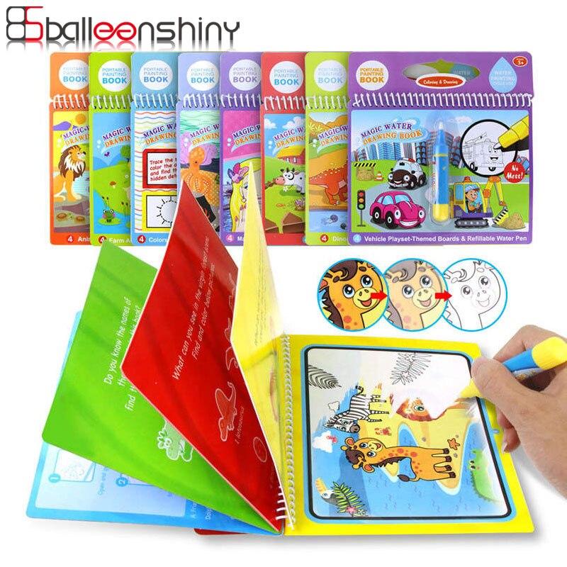 Balleenshiny 8 estilos de agua mágica libro de dibujo para colorear garabato y bolígrafo mágico juguetes de dibujo educación temprana para niños regalos de cumpleaños