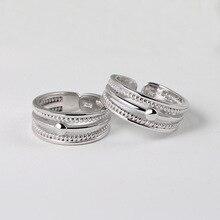 925 пробы Серебряное кольцо с открытым ртом для женщин и мужчин, простые тайские серебряные свадебные наборы, двойные веревки, Винтажный диза...