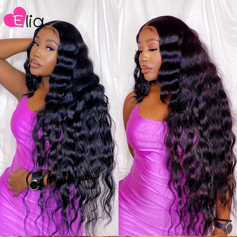 Elia Deep Wave Lace Frontal Wig Remy Peruvian Human Hair Wig Pre Plucked Wholesale Price For Black Women Nature Hair Middle Part