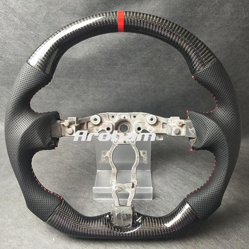100% ريال الكربون الألياف عجلة القيادة لإنفينيتي FX35 FX37 QX70 نيسان 370Z 2009 2010 2011 2012 2013