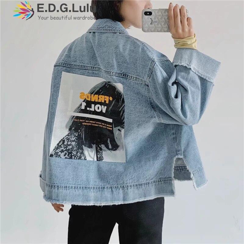 EDGLuLu 2019 harajuk ample bleu jean vestes femmes à manches longues vintage impression femmes denim veste femmes manteau coupe décontracté style
