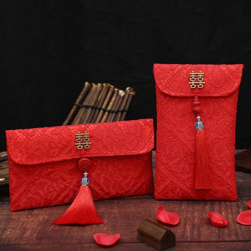 Sobre rojo de estilo chino, bolsa de dinero para año nuevo de la suerte, bolsas de borlas para regalo de compromiso, brocado de alta calidad, bolsillo para dinero de boda
