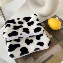 Mignon lait vache impression Mini porte-monnaie changement dargent en peluche sac de rangement fermeture éclair portefeuille LX9F