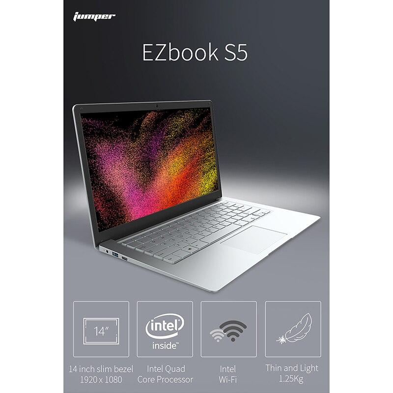Jersey EZbook S5 IPS de 14,0 pulgadas portátil N3450 Quad Core 8GB DDR4 + 256GB SSD Windows 10 ultrafino portátil