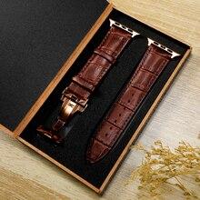 Schmetterling schnalle lederband Für Apple Watch 5 band 44mm 40mm armband iwatch 3 band 42mm 38mm apple watch serie 5 4 3 2 1 44