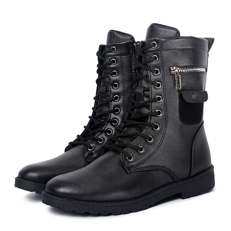 الرجال الجلود دراجة نارية الأحذية منتصف العجل العسكرية القتالية الأحذية الدانتيل متابعة فاسق أحذية الرجال الأحذية التكتيكية الجيش الأحذية