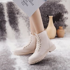 2020 Fashion Zipper Flat Shoes Woman High Heel Platform PU Leather Boots Lace up Women Shoes Ankle Boots Girls 35-40