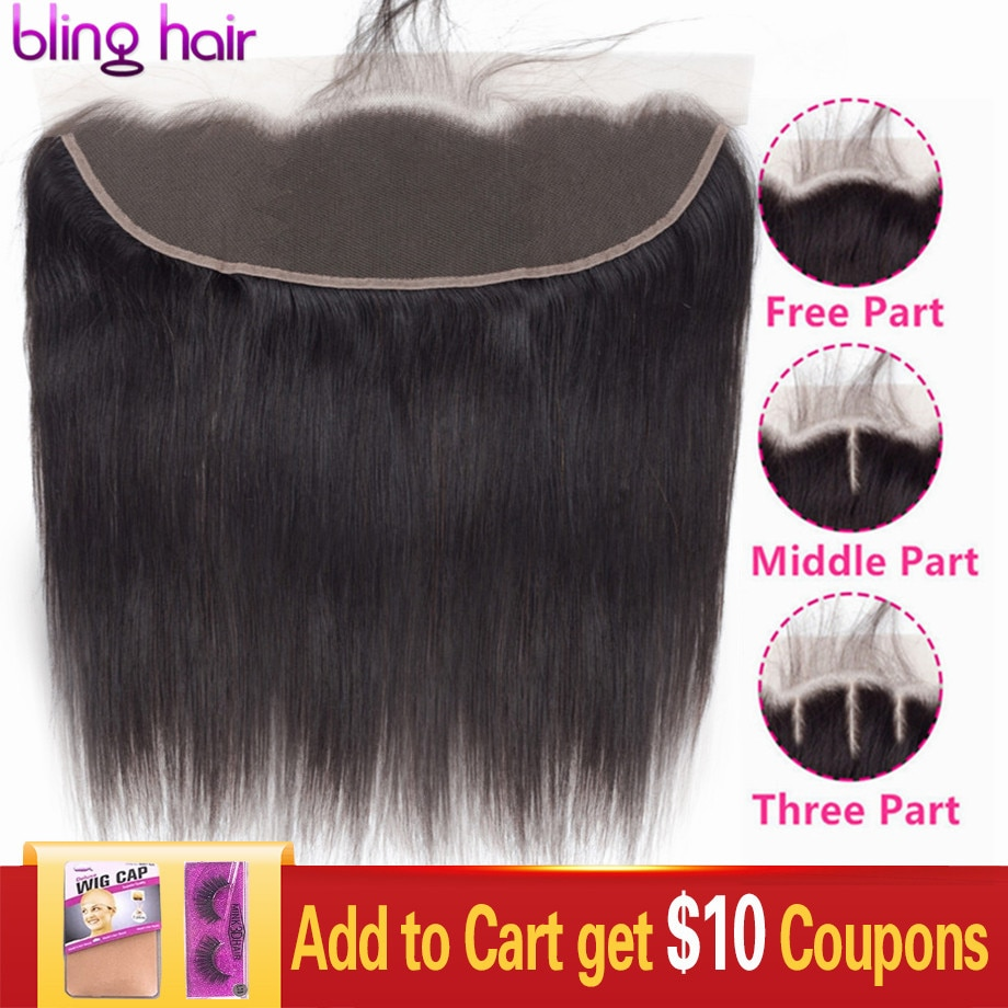 Bling Hair Transparent 13x4 Lace Frontal Closure Peruvian Straight Human Hair Closure Brown 4x4 Lace Closure Remy Hair 8-22 Inch