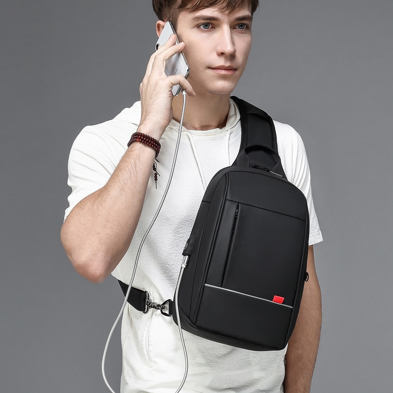 multifunction small backpack crossbody bag waterproof men chest bag 11 inch laptop ipad shoulder bag men s chest pack 9.7 inch iPad Shoulder Bag for Men Business Crossbody Bags USB Charging Chest Pack Waterproof Messenger Bag Male n1909