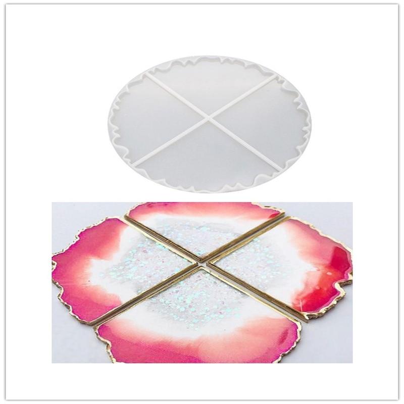 Mirror round coaster mould DIY Handmade Irregular Coaster Crystal Epoxy Mould High Mirror UV Resin Molds