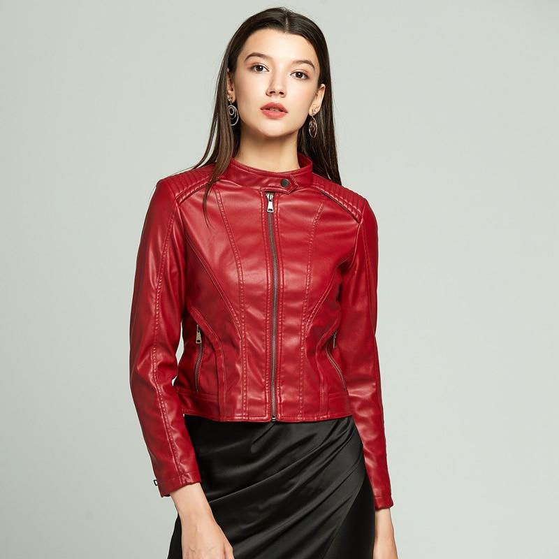 Красная байкерская куртка мотоциклетная куртка женская куртка из искусственной кожи женская кожаная куртка большого размера плюс размер з...