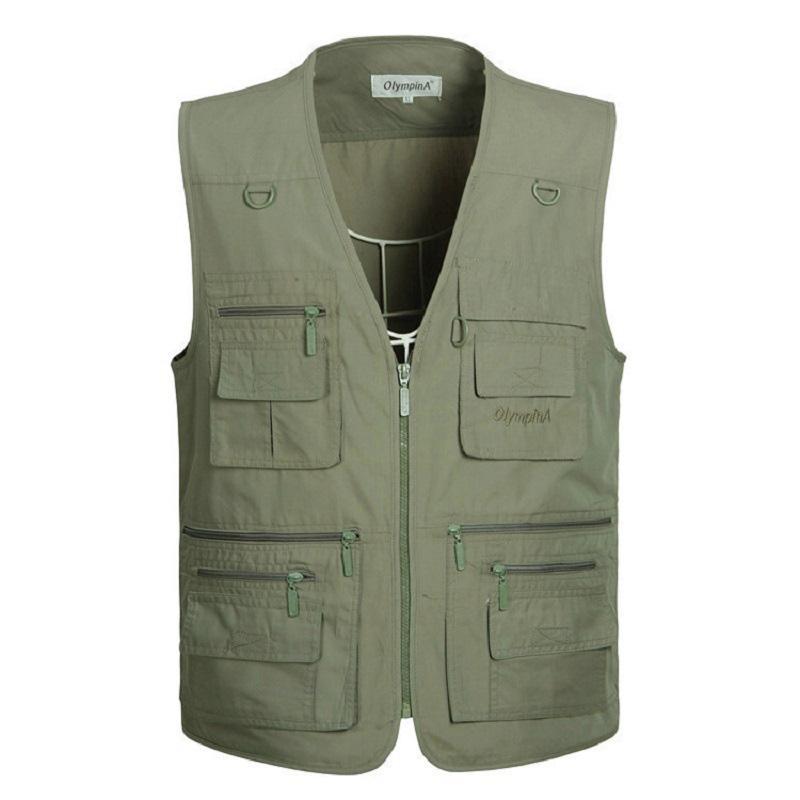 Большой размер, мужские армейские повседневные жилеты с множеством карманов, мужские Модные жилеты без рукавов, большие размеры, XL-5Xl