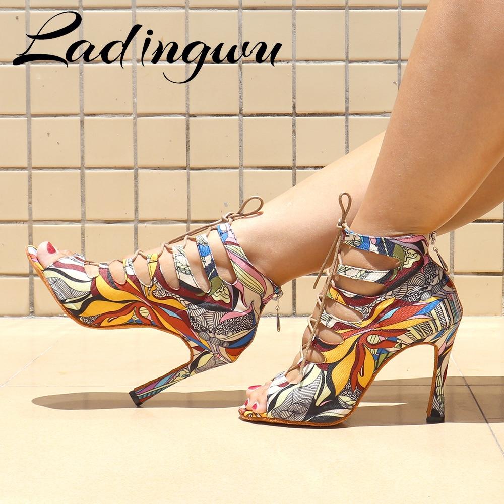 Creative Graffiti Denim Dance Boots Soft Bottom Shoes Zipper Womens sandals Latin Salsa Blue/Red/Yellow