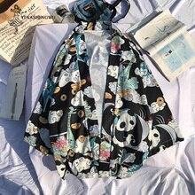 Japanischen Kimono Strickjacke Harakuju Vintage Cartoon Print Kimono Sommer Hemd Yukata Frauen Oberbekleidung Strand Reise Dünne Blusen
