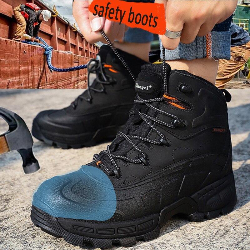 Cungel-zapatos de seguridad para el trabajo para hombre, calzado protector de construcción...