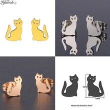 Hfarich Charming Animal Earrings Sweet Cat Earrings Steel Color Stainless Steel Ear Earring For Wome