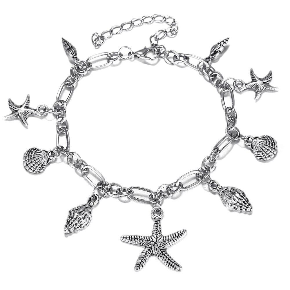 Boho Ocean tobillera pulseras ola de mar tortuga Concha estrella de mar encanto pulsera mujeres playa Bohemia vacaciones en el mar joyería
