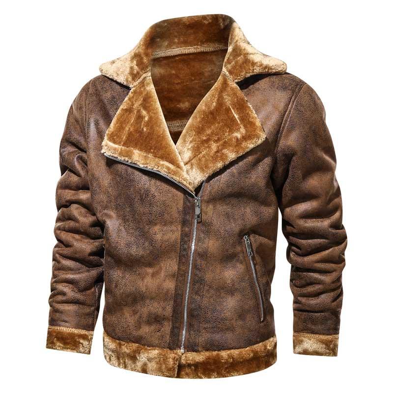 Новинка, мужские теплые кожаные куртки Mcikkny, пальто, тепловые куртки с подкладкой Fllce, верхняя одежда для мужчин, размерная стандартная ветро...