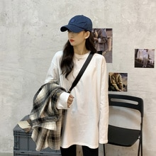 White U-neck T-shirt 2021 Spring And Autumn Cotton Bottoming Shirt Loose Mid-length Top For Femme
