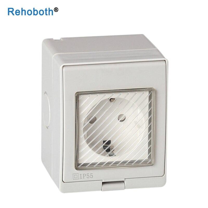 Enchufe blanco de 10A, resistente al agua IP55 para UE, Reino Unido, para cocina, baño, exterior, enchufe transparente con cubierta impermeable