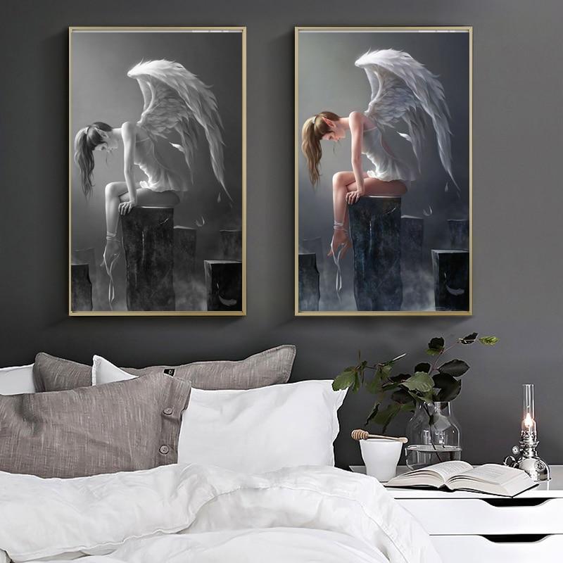 WANGART Tamanho Maior Asas de Anjo Preto E Branco Anime Poster Pintura A Óleo Moderna Arte Da Parede Pictures Para Sala de estar Em Casa decoração