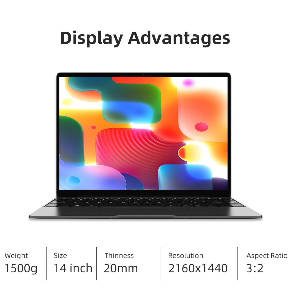 CHUWI  GemiBook Pro 14inch Laptop Intel Gemini lake J4125 Quad Core windows 10 system 8GB RAM 256GB SSD With backlit keyboard