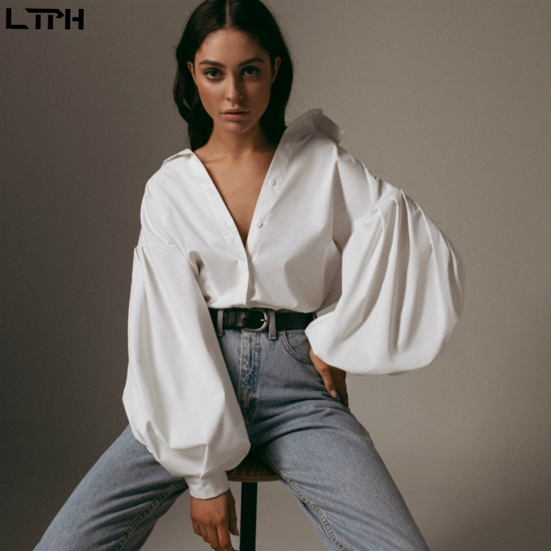 Hot sale 2021 Autumn New women blouses Lantern Sleeves lapel Streetwear fashion Casual wild Loose Slim button simple Solid shirt