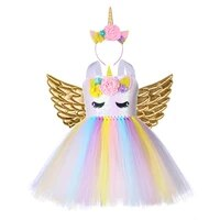 pastel unicorn dress girl birthday party dress set with unicorn headband wing teenage girls clothing 12 14 years kids outfits