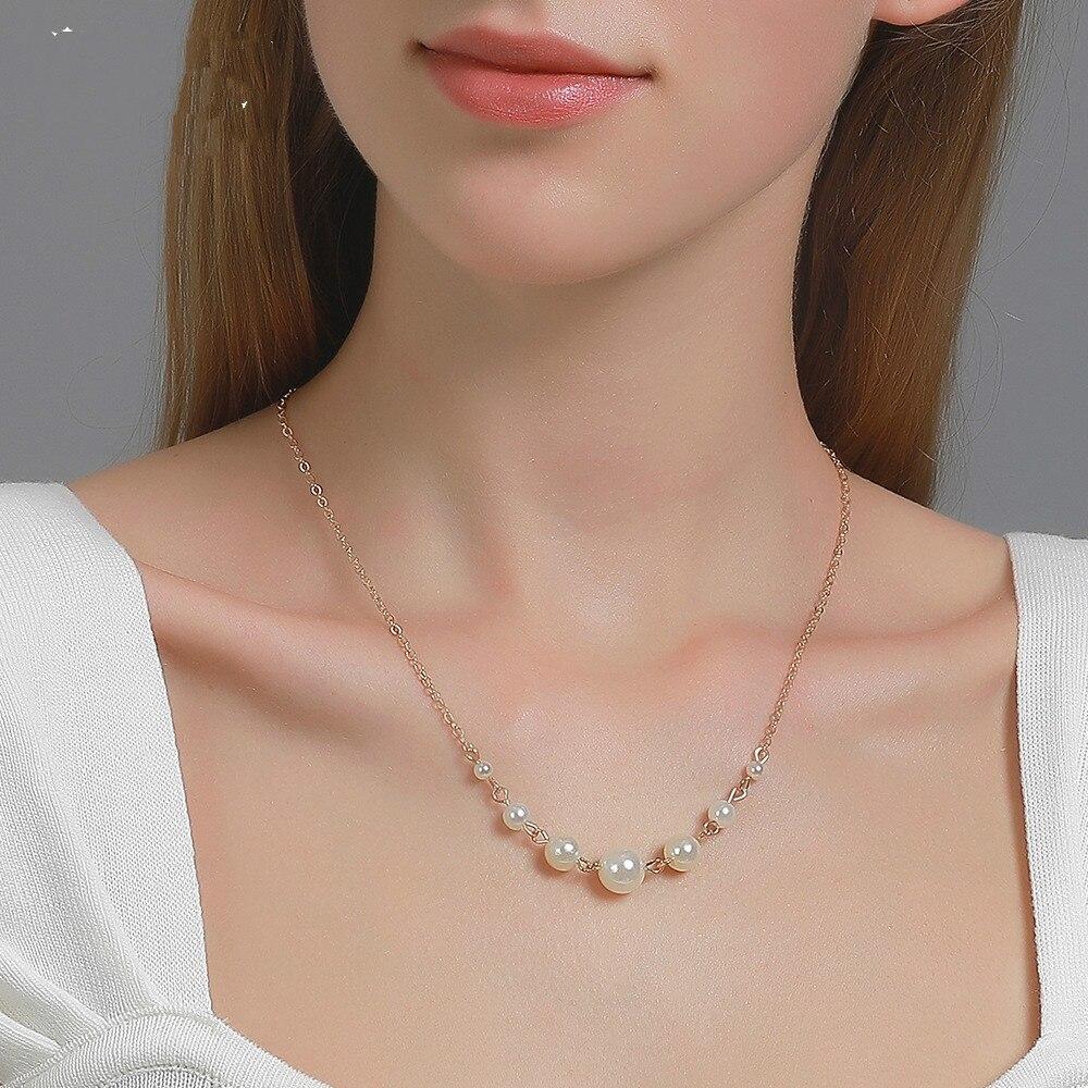 Collier de perles mode fille 7 perle clavicule chaîne courte