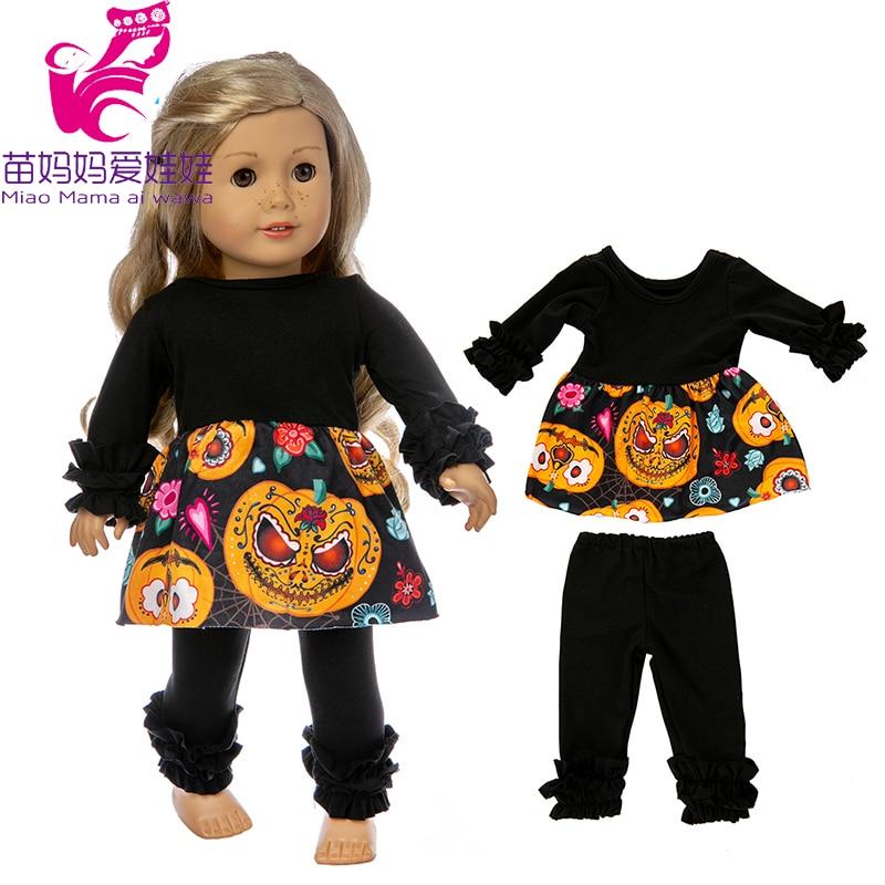 18 ropa de muñeca de Halloween Conjunto de pijama para 43cm muñeca de bebé oufit 18 pulgadas ropa de muñeca traje de calabaza