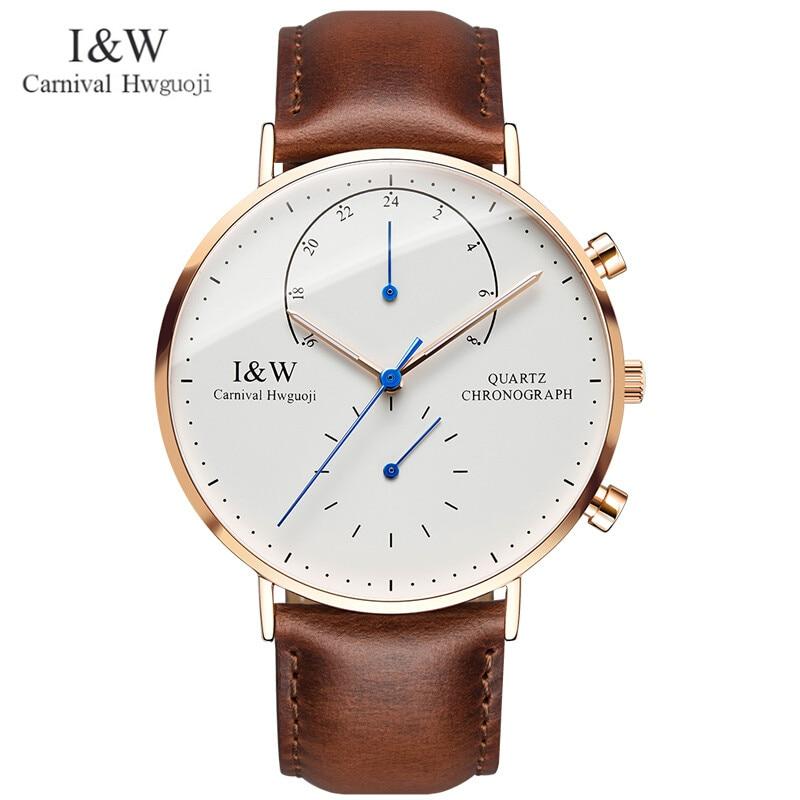 Carnival Brand Fashion Watch Man Luxury Waterproof Luminous Ultra Thin Sapphire Chronograph Quartz Wristwatch Relogio Masculino