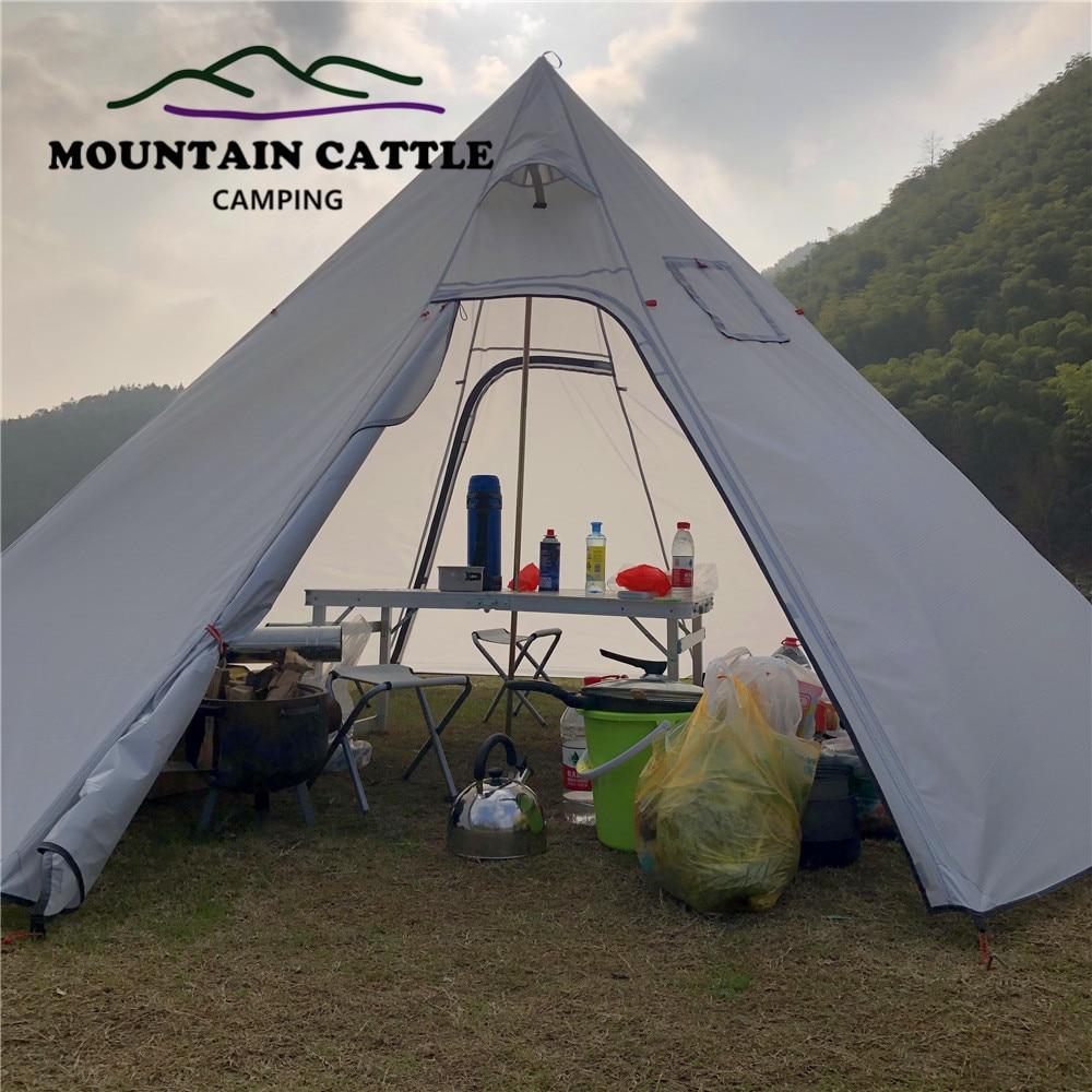 حجم الهرم خيمة الموسع مع مدخنة حفرة ، ارتفاع 220 سنتيمتر خفيفة في الهواء الطلق التخييم Teepee المظلات المأوى الظهر خيمة