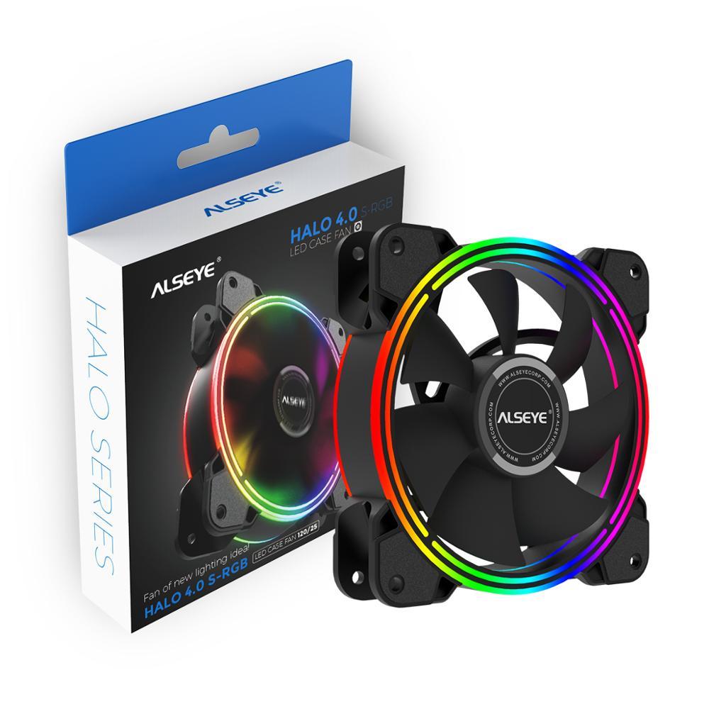 ALSEYE HALO PC Вентилятор охлаждения 4 pin PWM 120 мм статический светодиодный RGB Вентилятор компьютера для чехол и замена вентилятора процессора
