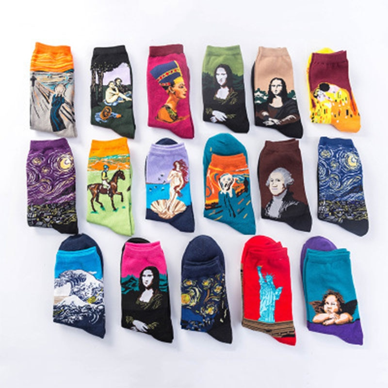 SVOKOR Otoño Invierno Retro mujeres calcetines arte con personalidad Van Gogh Mona Lisa famosa pintura al óleo abstracta hombres calcetines Harajuku Calcetines