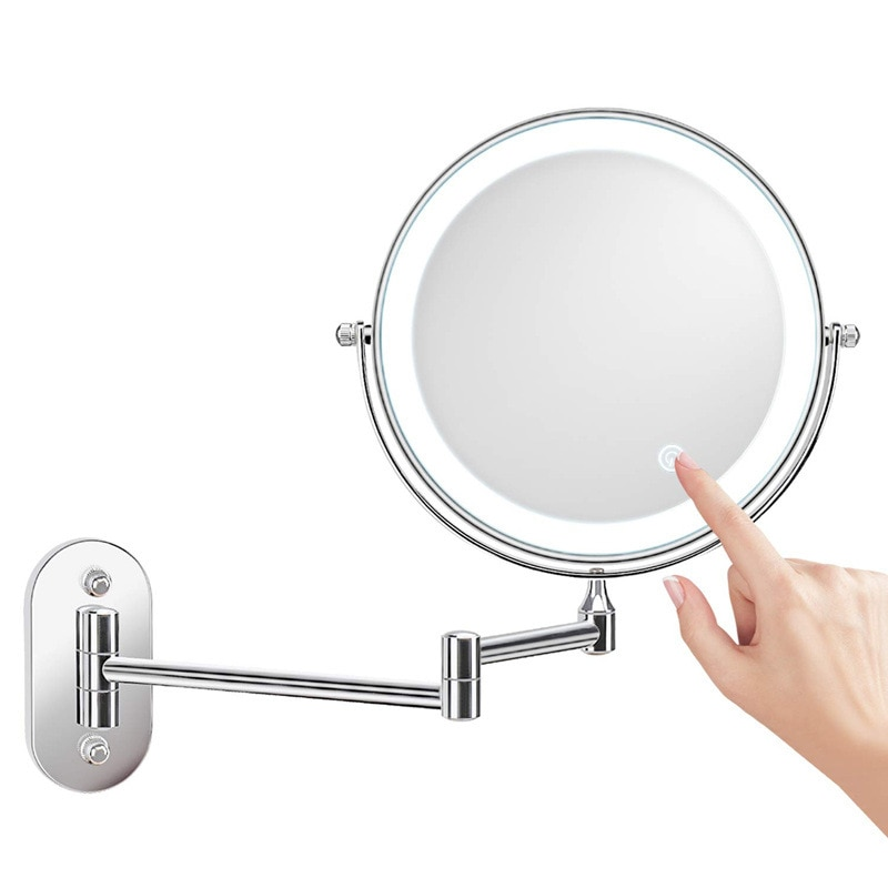 Led Makeup Mirror Light Folding Wall Decor Vanity Mirror 1x 10x Magnifying Double Sided Touch Bright Adjustable Bathroom Decor