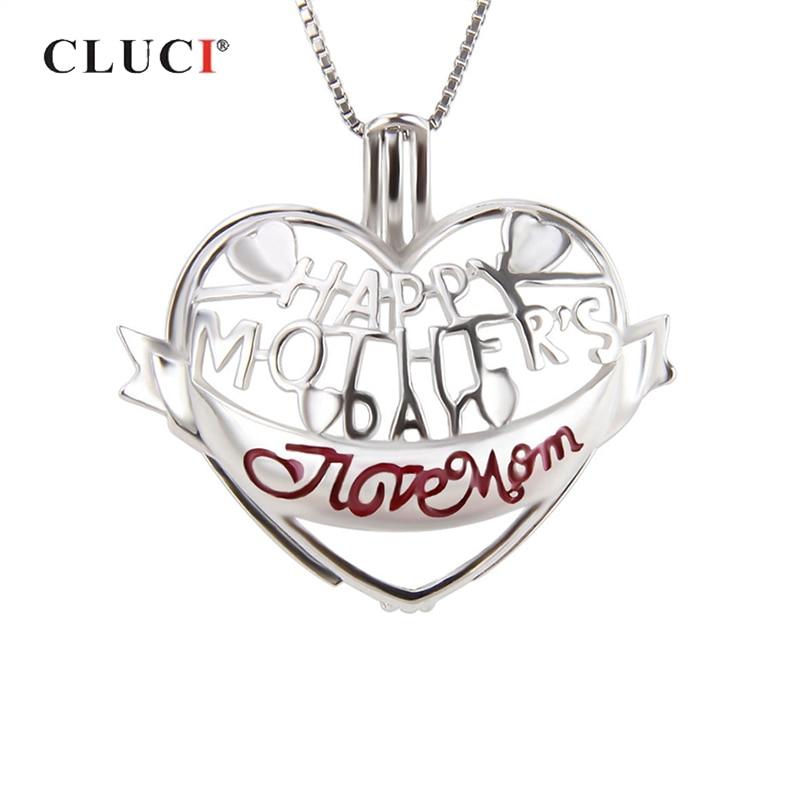 Collar con colgante de jaula de Plata de Ley 925 con forma de corazón CLUCI, joyería de regalo para el día de las madres, colgante con relicario de perlas SC251SB