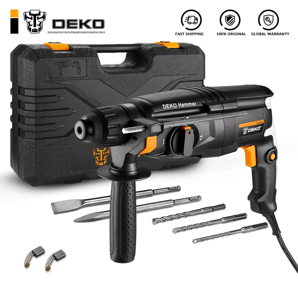 DEKO DKRH26H2 Multifunctional Rotary Hammer with BMC&6pcs Accessories Electric Demolition Hammer Impact Drill Punch Power Tools