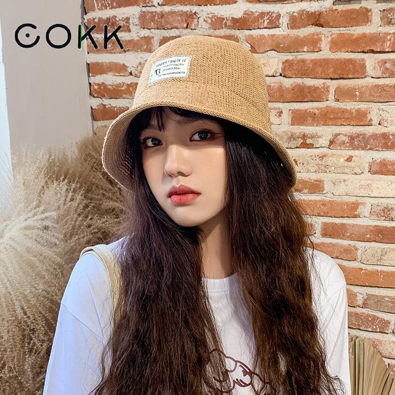 COKK sombrero con forma de cubo para mujer tejido de verano transpirable pescador sombreros para mujeres sombrilla sol sombrero femenino Bob sombrero Chapeu Gorro