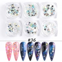 6 round bottles of nail sequins summer laser transparent star moon starry sky nail patch set nail decorations nail art glitter
