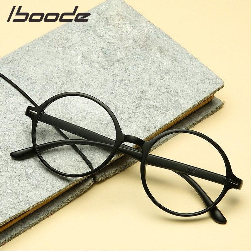 Iboode óculos de leitura redondos homens presbiopia feminino masculino hyperopia óculos tr90 diopter lupa