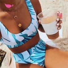Pocket Girl taille haute Bikini maillot de bain femmes Sexy imprimer Bikinis Biquini feuille imprimer Bikini brésilien Micro maillots de bain femmes