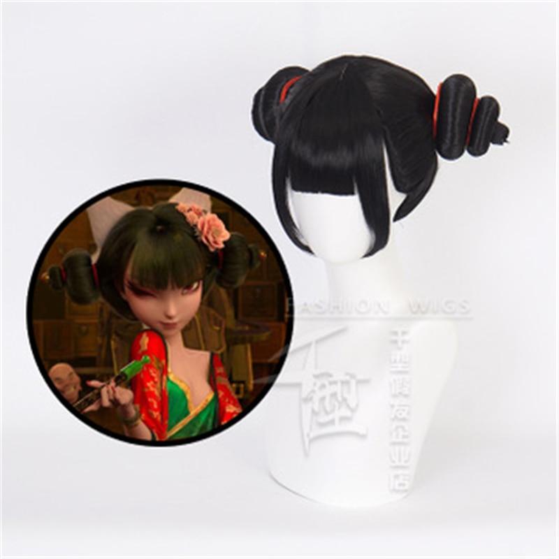 Белый Змеиный персонаж из мультфильма косплей парики черная челка короткие волосы фотографический реквизит парик