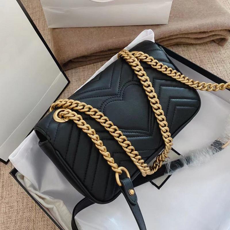 الكلاسيكية مصمم الازياء واحد الكتف قطري تمتد مارمونت حقيبة صندوق مربع صغير الحب حقيبة GG سلسلة صغيرة