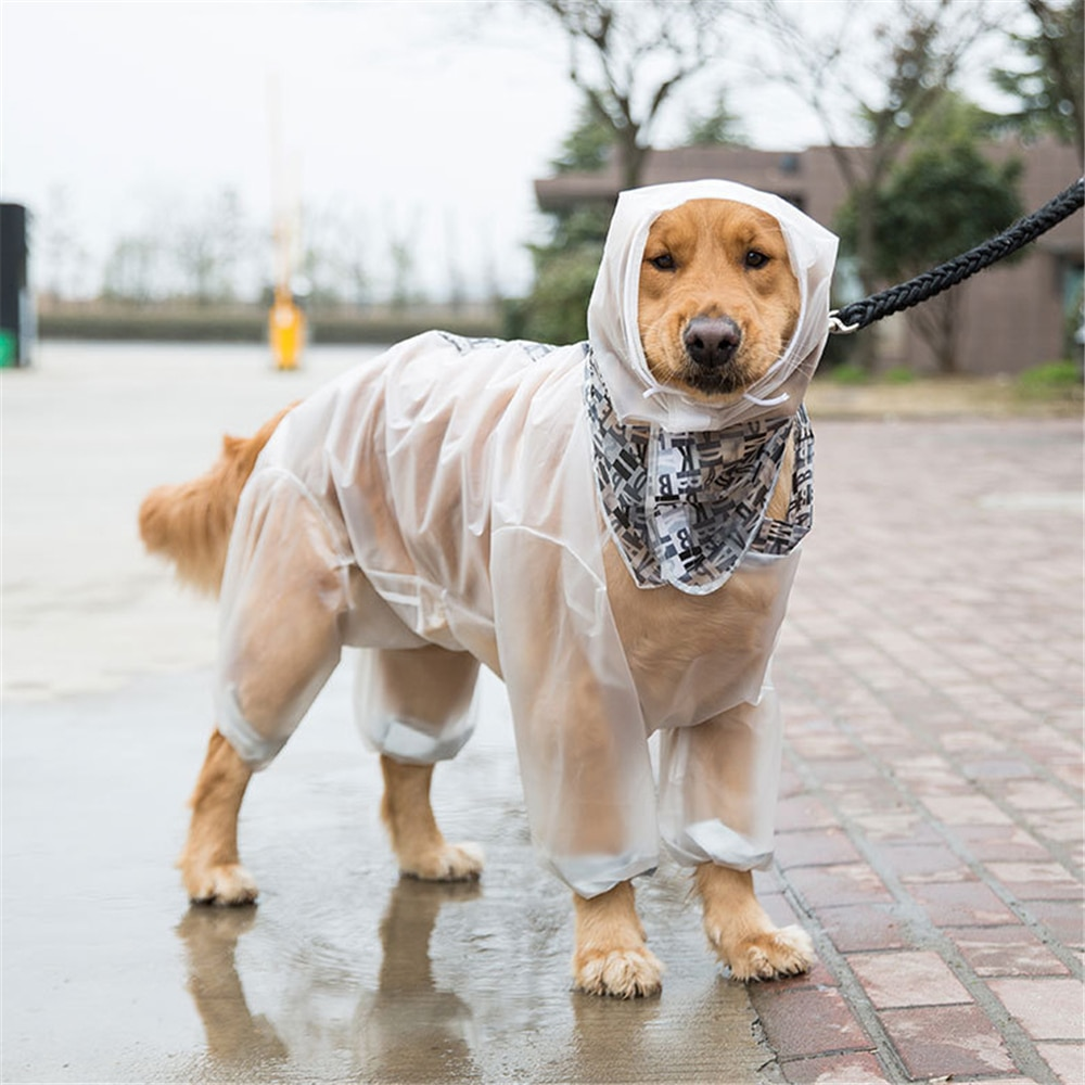 Outing ropa de lluvia grande para perro mascota cachorro gato impermeable con capucha para la lluvia chaquetas de animales de cuatro pies