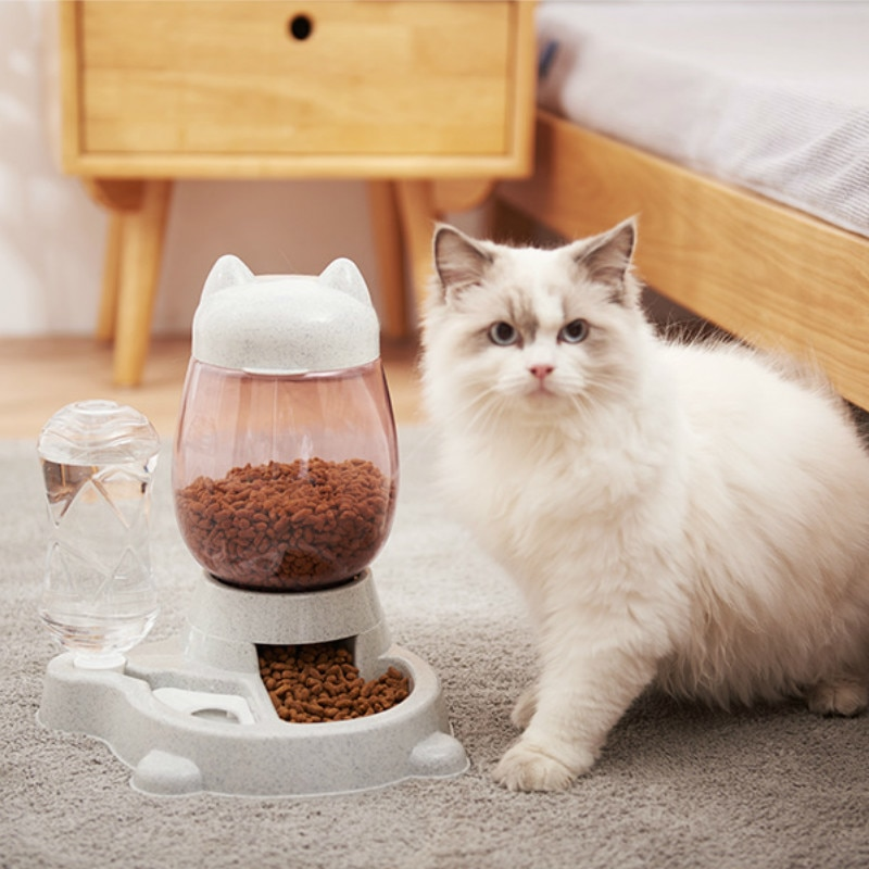 2 en 1 gato alimentador automático de gatos perros mascotas 528ML botella de agua potable botella gatito 2.2L cuencos de comida lenta alimentación contenedor de suministros