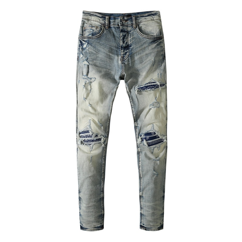 American Famous Brand AMR Washed Vintage Patch Ripped Man Jeans Men's Pants Men Trousers Streetwear 2021 Jeans for Men
