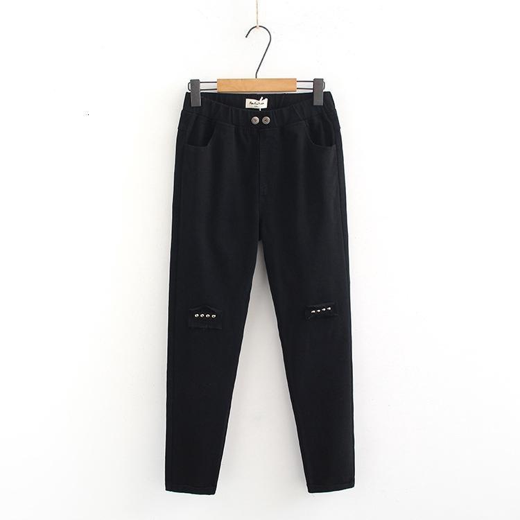 Pantalones vaqueros de cintura alta elásticos para mujer talla grande