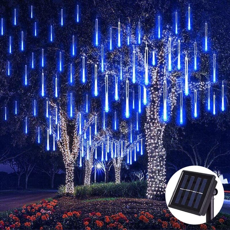 نيزك LED يعمل بالطاقة الشمسية ، مقاوم للماء ، 8 أنابيب ، 144 LED ، زينة الكريسماس والزفاف