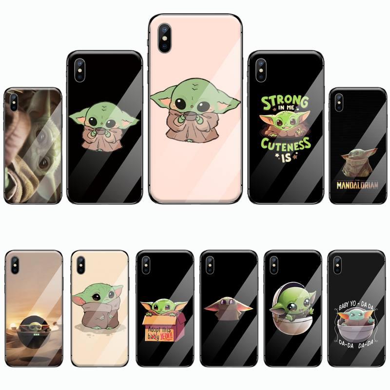 De dibujos animados bebé Yoda Meme teléfono caso cubierta de vidrio templado para iphone 5 5S SE 5C 6S 6 7 8 plus X XS X XR 11 PRO MAX